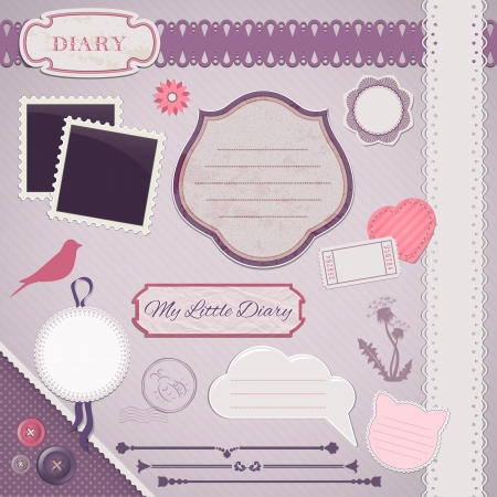 Scrapbooking Set: My Little Diary - frames, ribbons, dividers, notes and decorations Vettoriali