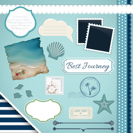Scrapbooking Set  Summer journey - frames, ribbons, dividers, notes and decorations