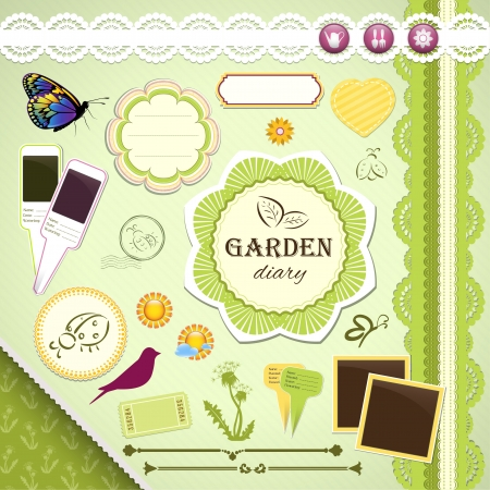 Scrapbooking Set: My Garden Diary - frames, ribbons, dividers, notes and decorations Vector