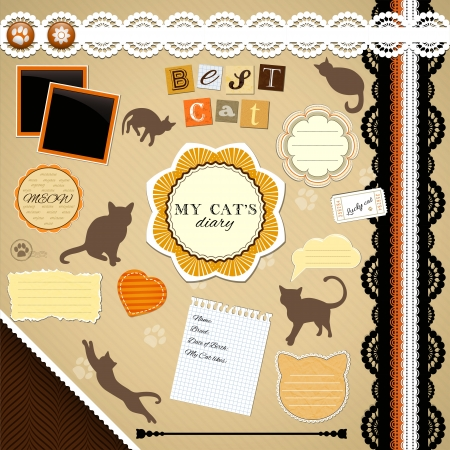 Scrapbooking Set: My Cats Diary - frames, ribbons, dividers, notes and decorations Vector