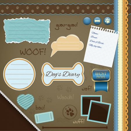 Scrapbooking Set: My Dogs Diary - frames, ribbons, dividers, notes and decorations Vector