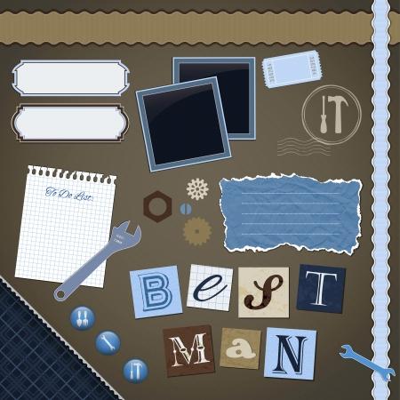 Scrapbooking Set: Best Man - Bilder, Bänder, Trennwände, Notizen und Dekorationen