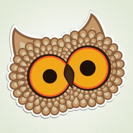 Cartoon owl head, for sticker label or decotation Vector