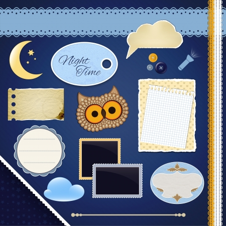 Scrapbooking Set: Night Time- frames, ribbons, divider, notes and decorations Vector