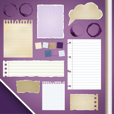 Scrapbooking Set: Torn Papers, coffee stains, ribbons Vector
