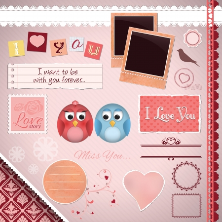 Scrapbooking Set: I Love You - cartoon birds, frames, ribbons, dividers, notes and decorations Vector