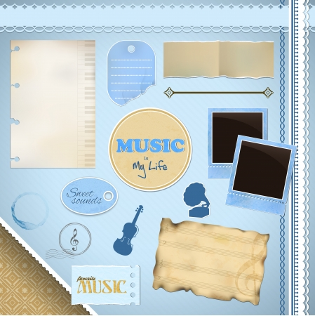 Scrapbooking Set: I Love Music - frames, ribbons, notes, tags and decorations Vector