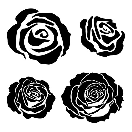 flowers close up: Set of different graphic rose silhouettes, suitable for tattoo