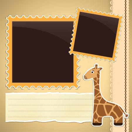 photo album page: P�gina de �lbum de fotos con la jirafa linda de la historieta