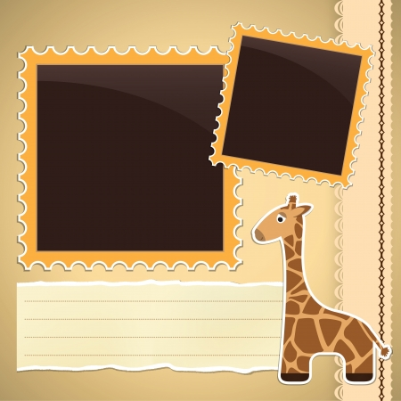 Photo album page with cute cartoon giraffe Vector