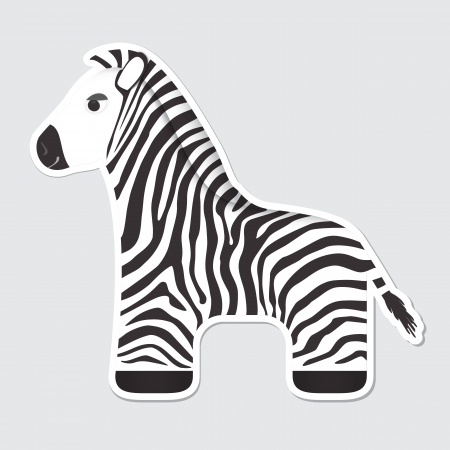 sripes: Cute cartoon zebra sticker Illustration