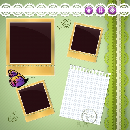 photo album page: P�gina de �lbum de fotos con elementos de jardiner�a