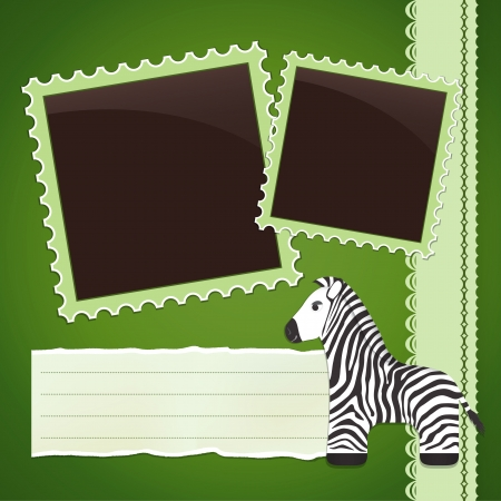 sripes: Green Photo album page with cute cartoon zebra
