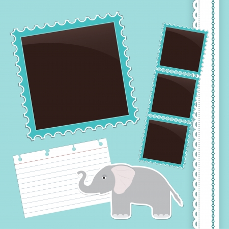 Light blue photo album page with cute cartoon elephant Vector
