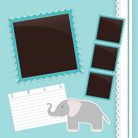 photo album page: P�gina de �lbum de fotos de color azul claro con el elefante lindo de la historieta