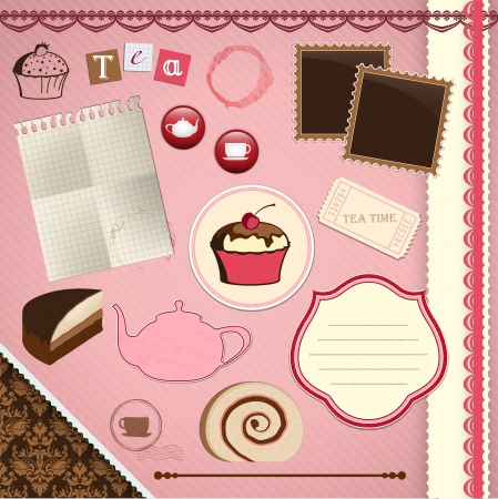 Scrapbooking Set: Tea Time - frames, ribbons, dividers, notes and decorations. File contains gradient mesh objects Vector