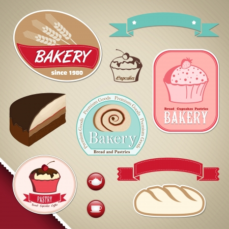 Elegant bakery and cupcakes labels, ribbons Vector