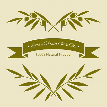 olive branch: Silhouette olive branches and olive oil label Illustration