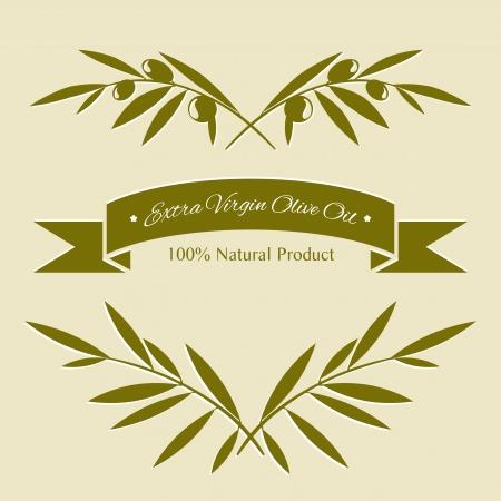 ramificación: Silueta de ramas de olivo y la etiqueta del aceite de oliva