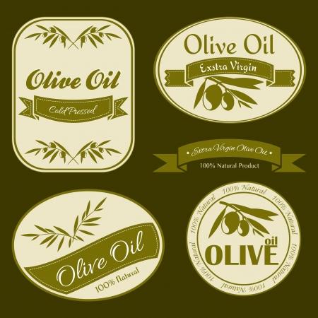 aceite de oliva virgen extra: Etiquetas de aceite de oliva del vintage con ramas de olivo