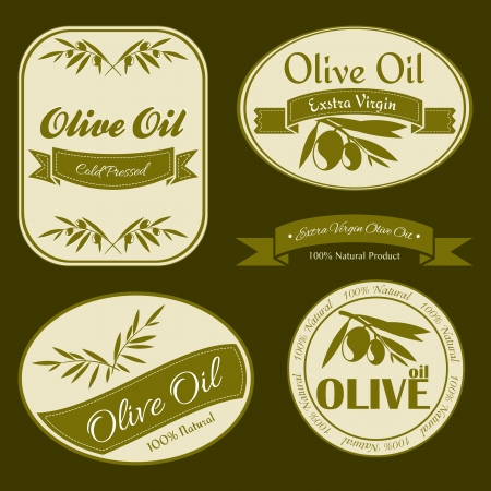 Vintage Olive oil labels with olive branches