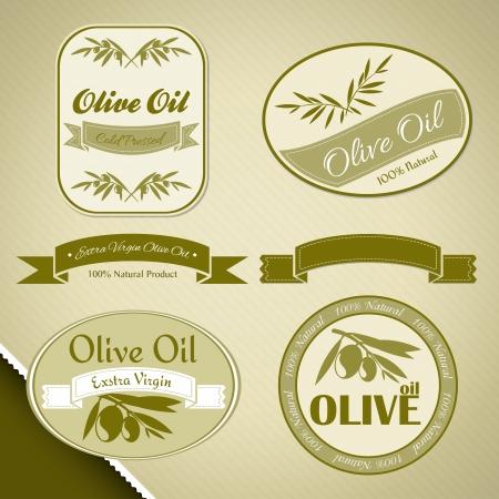 aceite de oliva virgen extra: Etiquetas de aceite de oliva ecol�gico con ramas de olivo