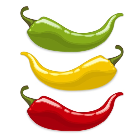 Red, yellow, green hot  chili peppers. Vector