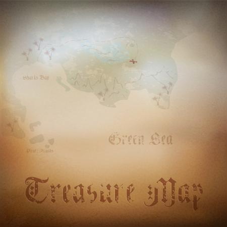isla del tesoro: Antiguo mapa del tesoro pirata. Ilustraci�n contiene malla de degradado