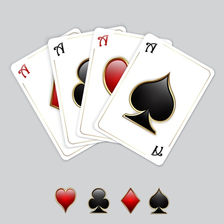 Vector playing cards - set of aces