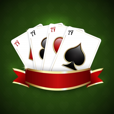Casino background with ribbon and playing cards Stock Illustratie
