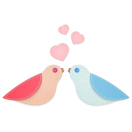 Cute birds made from fabric Vector