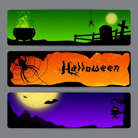 Three Magic Halloween banners with spiders, bats and owls Vector