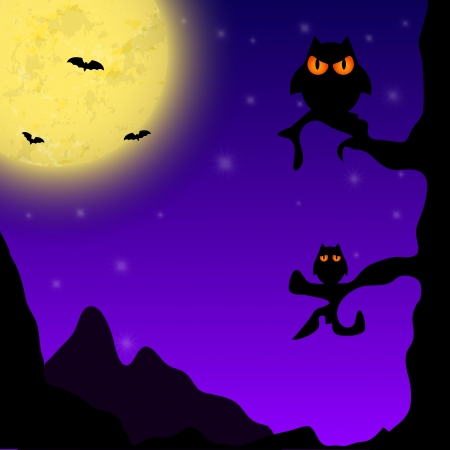 Magic Halloween background with owls Vector