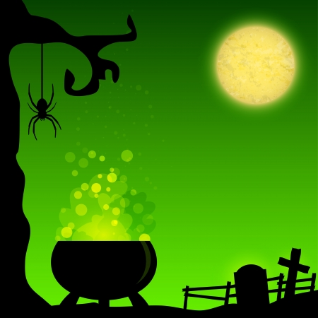Magic Halloween background with witch cauldron