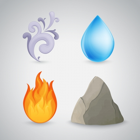 Four element icons - earth, air, fire and water. Highly detailed. Contains gradient mesh Illusztráció