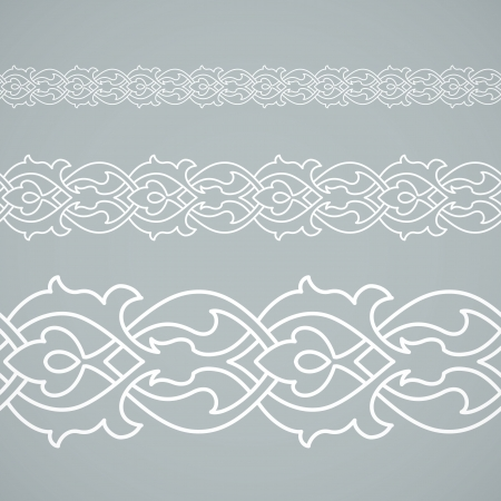 Seamless floral tiling border. Inspired by old ottoman and arabian ornaments Vector