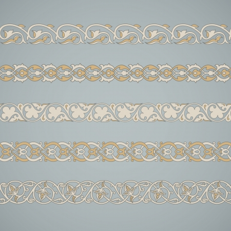 Seamless floral tiling borders. Inspired by old ottoman and arabian ornaments