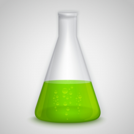 erlenmeyer: Laboratory flask with green liquid. Illustration contains gradient mesh