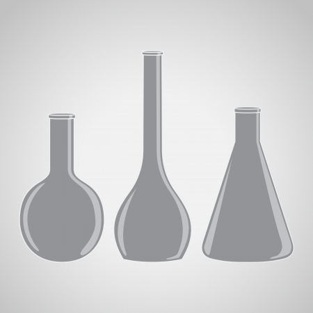 Silhouettes - different laboratory flasks Vector