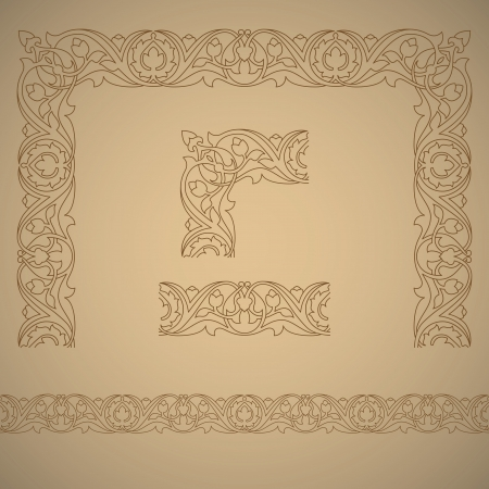 Seamless tiling border and frame with corner. Inspired by old ottoman ornaments