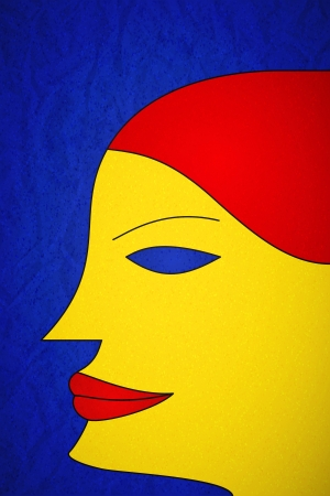 black hair blue eyes: Young woman portrait in fauvism style
