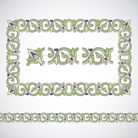 Seamless tiling border and frame with corner. Inspired by old arabian ornaments Vector