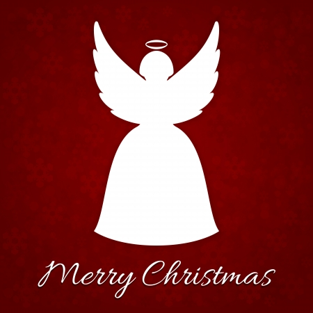 A Very Merry Christmas card with angel Vector