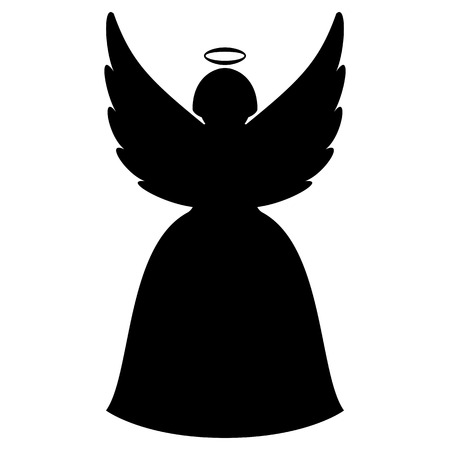 trumpet: Christmas angel silhouette Illustration