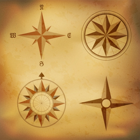 Old vintage windrose compass on aged paper background Vector