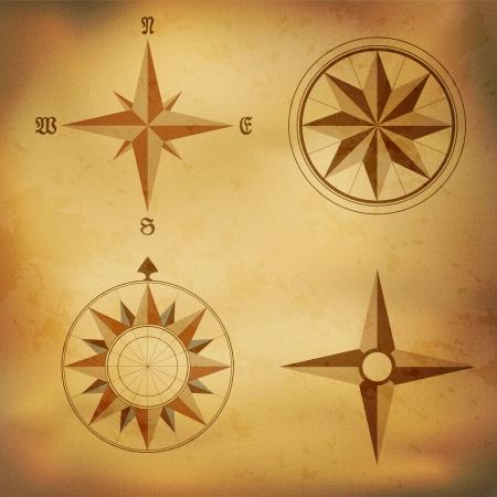 wind wheel: Old vintage windrose compass on aged paper background Illustration
