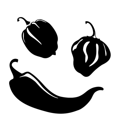 Chili and habanero peppers silhouettes Illustration