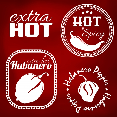 Extra hot chili and habanero pepper labels. Gradient mesh Vector
