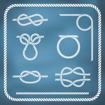 Nautical rope knotes  Vector, gradient mesh Illustration
