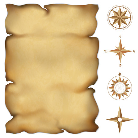 Old parchment map with wind rose compass  Highly detailed vector  Illustration contains gradient mesh